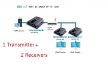 (1 Sender+ 2 Recivers) Wall HDMI Extender/ Up to 120m with IR,HDbitT HDMI 1080P Extender LAN Repeater over RJ45 Cat5e/Cat6(China)