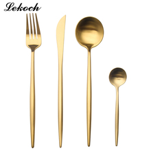 LEKOH 8 colors 18/10 Stainless Steel Black Dinnerware Set Gold Cutlery Set Fork Knife Scoops Wedding Silverware Set(China)