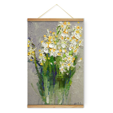 Impressionism Flowers White Narcissus Decoration Wall Art Pictures Canvas Wooden Scroll Paintings For Living Room Read To Hang