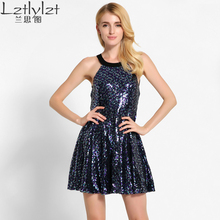 Lztlylzt Summer Women Party Sequin Short Dress Vestidos Sexy Hater Backless Femme Vintage Club Paillette Mini Dress Robes DRYA53
