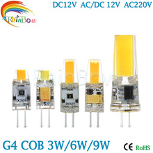 G4 G9 LED Lamp COB LED Bulb 3W 6W 9w DC/AC 12V 220V LED G4 G9 COB Light Dimmable Chandelier Lights Replace Halogen G4 G9 bulbs
