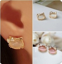 2017 Hello Kitty Jewelry With Crystal Bowknot Opal Cute Cat Stud Earrings For Women Female Best Gifts