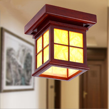 Chinese style antique solid wood red frame ceiling lights Rural brief parchment Led lamp for porch&stairs&pavilion&tearoom MF014