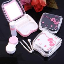 New hello kitty contact lens case for eyes cute plastic eyeglass case for lenses care box set with sucker and Tweezers(China)