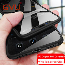 GVU 360 Degree Phone Case For iphone X Case With Tempered Glass For iphone 6 6s 7 8 Plus Case Plastic Cover Protect Front+back(China)