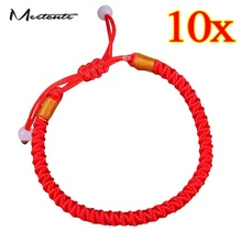Meetcute 10pcs/Pack Hand Braided Red Lucky String Rope Cord Bracelet Handmade Adjustable(China)