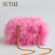 Fashion Ostrich Feather Luxury Design Pink Lady Clutch Hairy Box Women Purse Shoulder Bags Evening Small Pouch Sac BA311