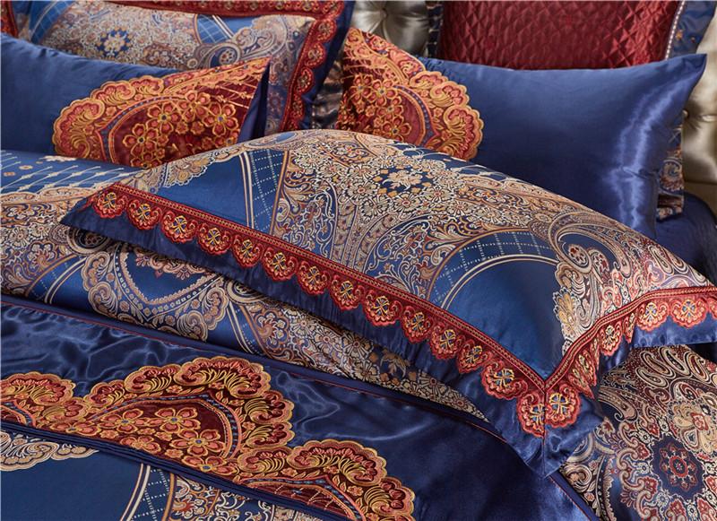 Luxury Bedding Set, Silk Satin Jacquard Bedding Set, Queen, King, Duvet Cover,Bed Linen Flat Sheet Set 30