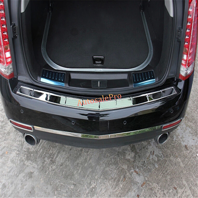 steel Outer Rear bumper protector Rear door sill scuff threshold plate Cover trim for Cadillac SRX 2010 1 12 13 2014<br><br>Aliexpress