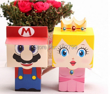 20pcs Super Mario Princess Wedding Favor Candy Boxes Birthday Party Favour Sweet Holder Box Gifts Cartoon Styles()