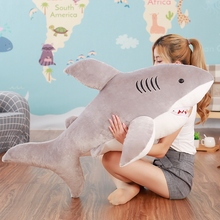 2017 70cm 80cm new super soft cute horror shark plush toy shark pillow doll girl children birthday gift(China)