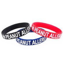 300pcs Debossed white logo Medical Alert Peanut Allergy wristband silicone bracelets free shipping by DHL express(China)