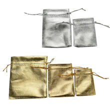 Wholesale 10PCS Gold & Silver Organza Drawstring Jewelry Gift Bag,Party Holiday New Year Christmas/Wedding Gift Bags & Pouches(China)