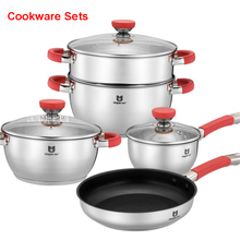 General Family Stainless Steel Pots & Pans Household items set pots silicone pans anti-hot set high quality kitchen utensils