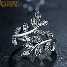Silver Color Sparkling LEAVES SILVER RING WITH CUBIC ZIRCONIA for Women Jewelry PA7206(China)