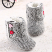 Infant Baby Girls Cotton Knit Soft Winter Warm Snow Boots Heart Button Crib Shoes 0-18 Months(China)