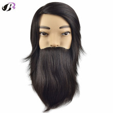 "Hot Sale 10"" Male Mannequins With 100% Human Hair And Beard Hair Training Head For Hairdresser Mannequin Doll Head With Holder(China)"