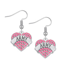 Factory Direct Provide Fashion US Army Jewelry Heart Crystal Name Army Earrings