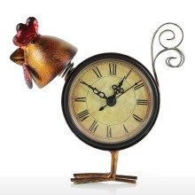Tooarts Craft Chick Clock Handmade Home Decor Metal Chick Figurine Mute Table Clock Practical Offces Home Decoration Accessories