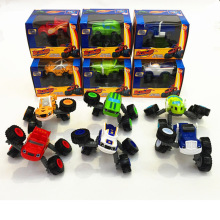 6 PCS/SET Russia miracle cars Blaze Toys Leg Retractable Vehicle Car Transformation Toys With Original Box Best Gifts For Kids