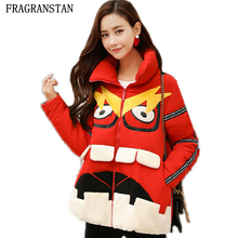 New Fashion Winter Chinese Red High Quality Female Down Jacket Cotton Print Warm Personality Spliced Women Cute Parkas Coat LY43(China)