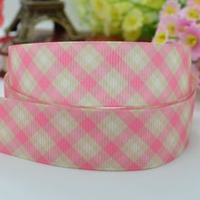 Pink plaid party decoration hairbow 25mm clothing accessories birthday baby & kids printed grosgrain ribbon 50 yards 1 inch roll