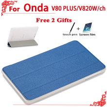 High quality Pu Leather Case for onda V80 plus v820w Double system,for Onda V820W ch case cover + free 2 gifts