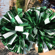 "Free Fast shipping Cheerleader Pom pom 1,000*3/4"" *6"" Metallic Green And Plastic Green  18pieces Cosplay Fully Don'T Fade"