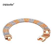 1 Piece Luxury Gold Color Men Women Jewelry Hand Catenary Link Bracelet Bangle Chains 21CM Long Wide Women Cuff Bracelets(S0068)(China)
