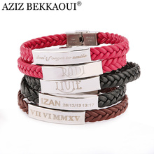 Laser Engrave Name ID Bracelet Personalized Name Bracelet For Men Stainless Steel Soft Leather Braided Rope Bracelet Customize(China)