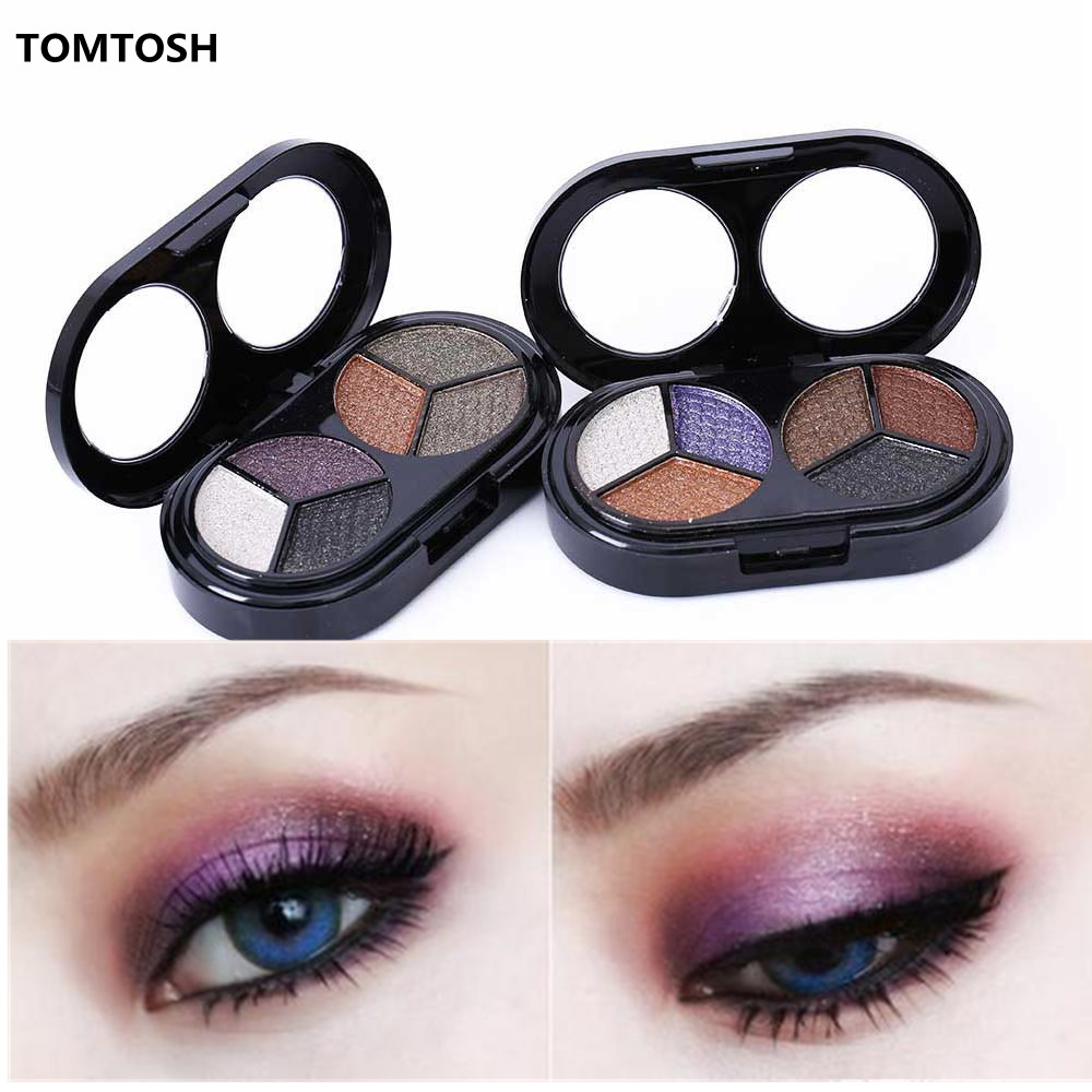 TOMTOSH 1PC Colorful 6-color eye shadow nude makeup earth color eye shadow pearl color(China)