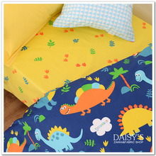Fabric width of 1.6 meters cotton twill bed sheet quilt cover blue bottom dinosaur fabric 50x160cm(China)