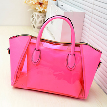 2017 Direct Selling Interior Compartment Polyester Shell Bag Women New Spring Transparent Jelly Neon Smiley Shoulder Crystal