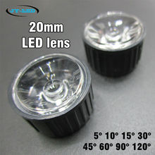 50x 1W 3W Power Lens 20mm Diameter Optical PMMA With White/Black Holder Angle 5 10 15 30 45 60 90 120 Degree LED Lens(China)