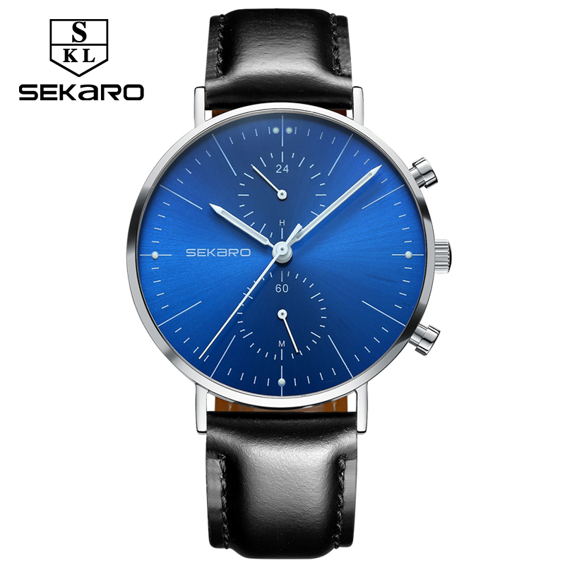 SEKARO Brand Mens Watch Waterproof Ultra Thin Clock Male Gift Quartz Watches Men Wrist Two Timing Watch Relogio Masculino<br>