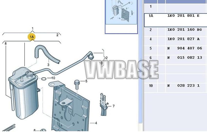 Evaporation Carbon Charcoal Canister /& Hose For VW Jetta MK5//6 1K0 201 160 BG