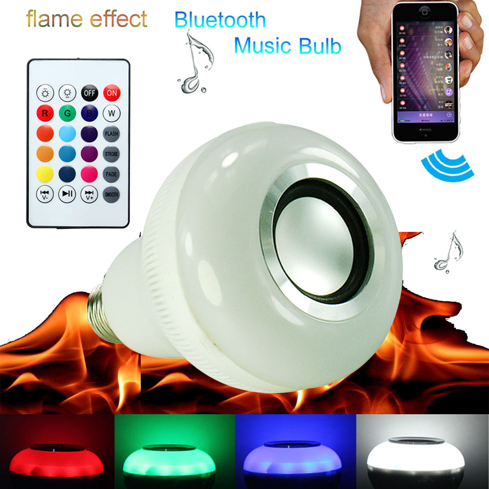 Multi function RGB led bulb E27 flame effect led lights with bluetooth speaker for music sound control smart bulb for party<br>