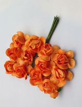 144PCS/LOT orange color Mulberry Paper Flower Bouquet/wire stem/ Scrapbooking artificial chrysanthemum flowers 00401104