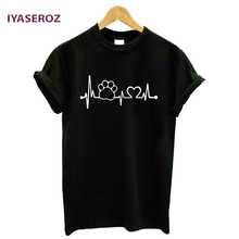 IYASEROZ 2017 Paw Heartbeat Lifeline dog cat Women tshirt Halajuku Casual Funny t shirt For Unisex Lady Girl Top Tees Hipster(China)