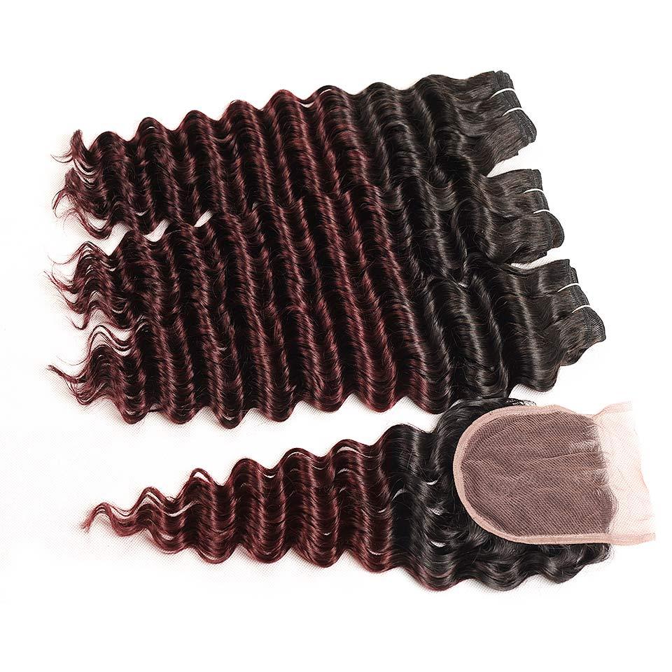 Pinshair Pre-Colored T1BBurg Deep Wave Hair Brazilian 3 Bundles With Closure Non-remy Human Hair Weave Bundles With Closure (78)