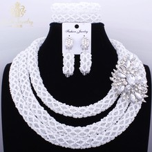 Romantic White African Crystal beads Necklace Set Nigerian Dubai Big Design Jewelry Sets Costume Jewellery set 2017 Party Gift