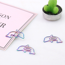TUTU 10 pcs/box Metal rainbow matal clips coloful paper clips dolphins clips mini clips Multifunctional metal bookmark H0151(China)