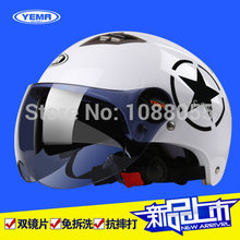 2015 New YEMA double lens Motorcycle Helmet Capacete Mototcycle Motor bike Half Face Anti-UV autumn Motorcross Helmet  52-62cm