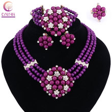 New Year Gift~Beads Choker Classic yellow purple pearl Roses Nigerian African Beads Jewelry Set Wedding Party Queen Jewelry Sets