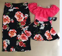 2017 Family Matching Outfits Mother And Daughter Flower Skirt Baby Girls Red Rose Skirts Kids And Parents Summer Skirt(China)