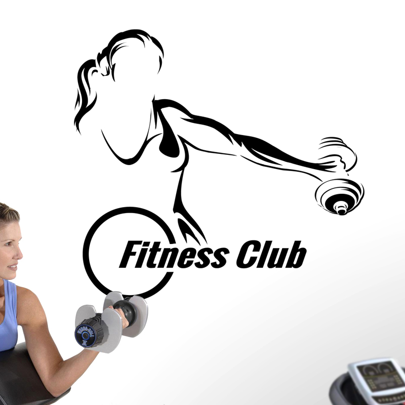 Gym Dumbbells Sticker Girl Fitness Name Crossfit Decal Body-building Posters Vinyl Wall Decals Parede Decor Gym Sticker