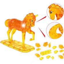 13.5 cm x 16.5 cm 3D Crystal Puzzle DIY Model Buliding Toy Children Home Decoration - Yellow or White horse drop shipped