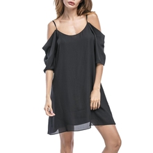 2018 black cold shoulder spaghetti straps slip chiffon dress half sleeves tunic top loose straight mini dress plus size S-3XL(China)