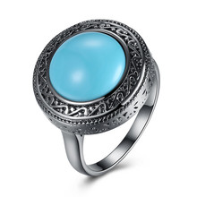 Black Gun Plated Vintage Men Women Natural Round Turquoises Stainless Steel Big Rings Prong Setting Jewelry Antique Ring