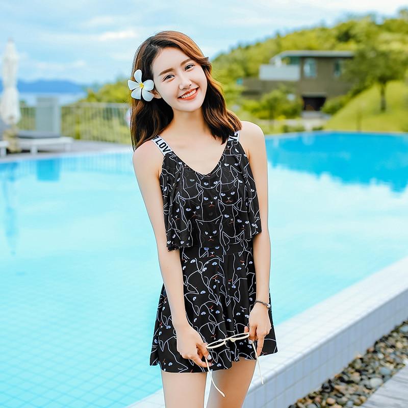 summer 2018 new Sexy Ruffle women swimwear print cat one piece swimsuit Asian sweet Dress type women bathing suits<br>